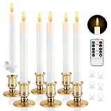 Christmas Window Candles Battery Operated with Timer, 6 Pack Flickering Flameless Taper Candles with Remote, Lvory LED Electric Fake Christmas Candles for Windows, 6 Candle Holders & 6 Suction Cups