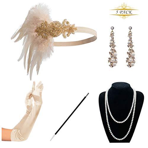 KQueenStar 1920er Jahre Zubehör Set Flapper Kostüm Accessoires für Damen 20s Gatsby Jahre Stirnband Kopfschmuck Ohrringe Perlen Halskette Handschuhe Zigarettenspitze (Champagne Set)