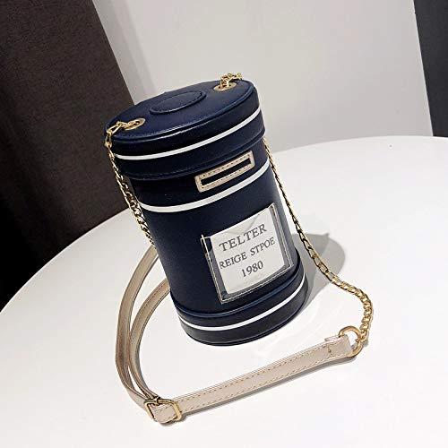 SAOGA Kleine tas vrouwelijke tij persoonlijkheid creatieve brievenbus pakket ins super vuur meisje ketting schouder messenger tas, blauw