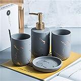 WanuigH Juego de Accesorios de Baño de Cerámica Conjunto de Inodoro de baño de cerámica Patrón de mármol nórdico Decoración de baño Fácil de Limpiar (Color : Gray B, Size : One Size)