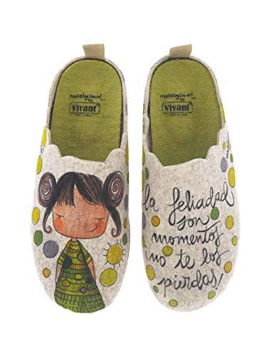 Divertidas Zapatillas de Casa para Mujer fabricadas en España Vivant 192574 Beig - Color - Beige, Talla - 37
