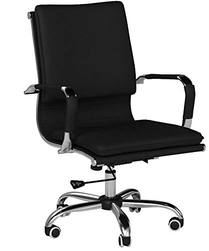 Uomax Ergonomic Executive Office Chair Mid back Bonded Leather Task Swivel Chair with Arms and Lumbar Support (Black)