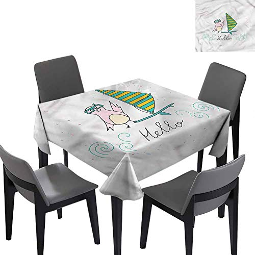 Hello Tablecloth for Kids/Childrens Summer Bird Surfboard Dinner Picnic Table Cloth Home Decoration 50x50 inch
