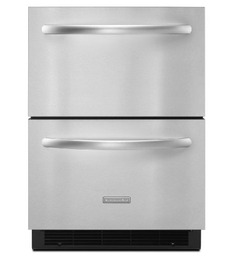 Big Sale Best Cheap Deals KitchenAid Architect Series II KDDC24RVS 24in Built-in Double Drawer Refrigerator, 5.1 cu. ft.