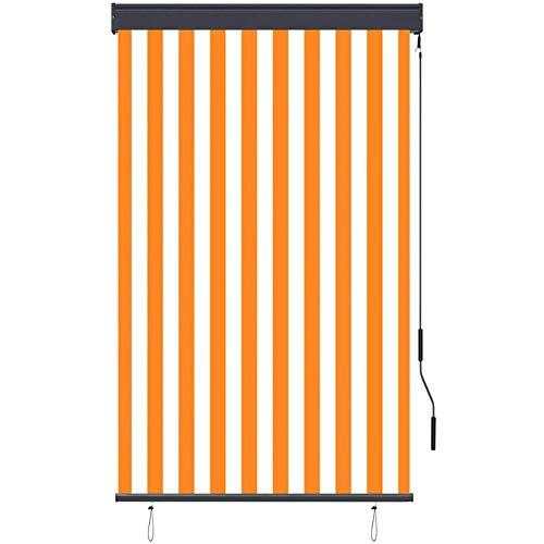 ZDYLM-Y Gelenkarmmarkise Markise Sonnenmarkise, Außenrollo Sichtschutz klemmmarkise Sichtschutz Balkon Balkonfächer,White orange,120 x 250 cm
