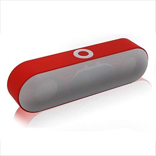 Altavoz Bluetooth DKEE Sistema de Altavoz inalámbrico portátil de música de Sonido del Altavoz Rojo Mini Bluetooth 3D compatibles con Sonido Envolvente estéreo Bluetooth, USB TF AUX