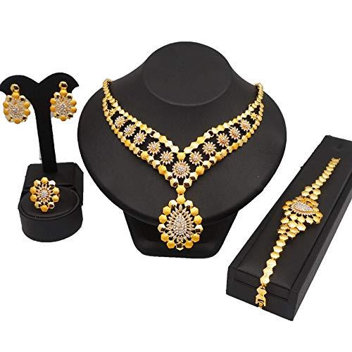 xtszlfj Conjuntos de Joyas de Color Dorado de 24 k, Collar de Boda + Pendientes + Anillo + Pulsera, Regalo de joyería de Moda Africana para Mujeres