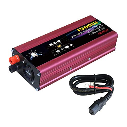 LKK-KK Inversor de alimentación del automóvil Indicador LED Convertidor de energía Enfriamiento inteligente Universal Modificado Sine Wave 1500W DC 48V / 60V a 220V AC