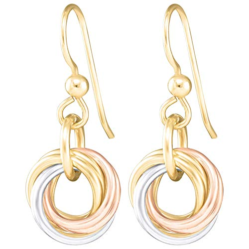 Dainty Tricolor Love Knot Dangle Earrings with 925 Sterling Silver and 14K Yellow and Rose Gold-Filled Circles Unique Three Tone Minimalist Jewelry Gift Idea for Women