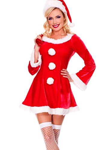 Baymate Mujeres Disfraz De Adultos Navidad Manga Larga Princesa Vestido Rojo (Vestir+Sombrero+Regalo Bolso)