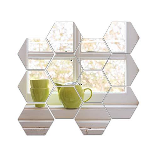 Ulable 12 Stück Hexagon Spiegelfliesen Wandaufkleber 3D Acryl Dekor Spiegel Wandsticker auf modernem Aufkleber für Zuhause Wohnzimmer Schlafzimmer (4,6 x 4 x 2,3 cm, Silber)