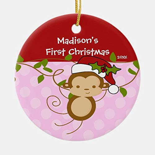 McC538arthy Christmas Santa Hat Ornaments, Girl Santa Monkey Baby's First Christmas Ornament Hanging Ornament Xmas Tree Decor Gifts 3''