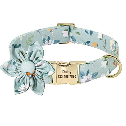 Beirui Custom Flower Girl Dog Collar for Female Dogs- Floral Pattern Engraved Pet Collars with Personalized Gold Buckle(Cotton , S)