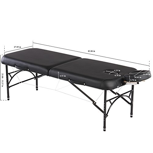 "Artechworks Professional 2-Fold Portable Lightweight Massage Table Facial Solon Spa Tattoo Bed With Aluminium Leg(2.56"" Thick Cushion of Foam)"