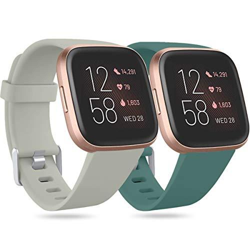 Ouwegaga Compatible con Fitbit Versa Correa/Fitbit Versa Lite Correa/Fitbit Versa 2 Correa, Banda de Repuesto de Silicona para Fitbit Versa, Pequeño Gris/Pinegreen