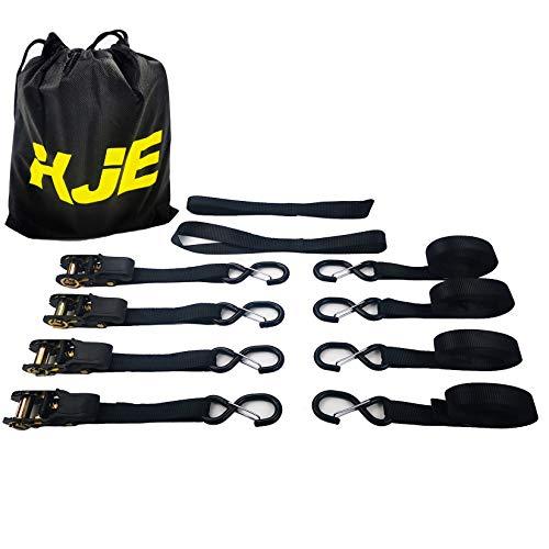 Ratchet Tie Down Straps (2 Pack) - 1 in x 15 ft | AAR Certified Break Strength (1,823 lbs) | Cargo Tie Down Set with (2) Utility Ratchet Straps, (2) Bundling Straps, and Accessories KJE