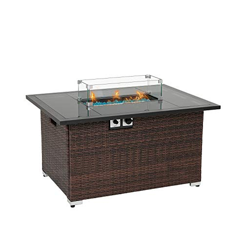 HOMPUS Outdoor Propane Gas Fire Pit Table 44-Inch 40,000 BTU Rectangular PE Wicker Patio Fire Place w Glass Wind Guard, Waterproof Cover and Free Fire Glass, Internal Tank Storage, Brown