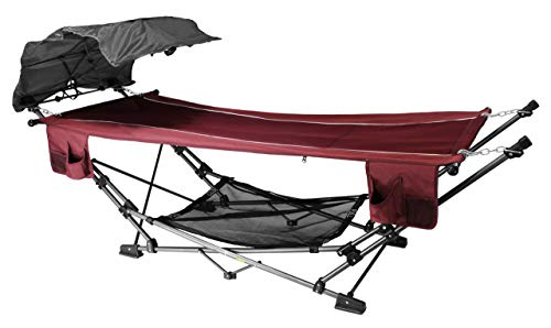 ZENITHEN LIMITED Red Folding Hammock with a Retractable Canopy