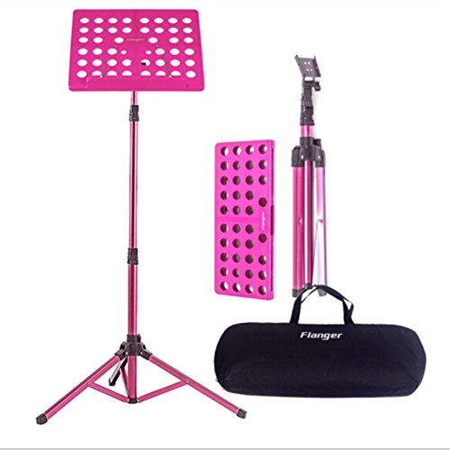 Atril Musica Plegable con Capacidad de Peso Máximo de Bolsa de 5 kg de Altura, Rango Ajustable de 70 a 150Cm, Adecuado para Sostener su Libro de Música, IPad, Computadora Portátil (Rosa)