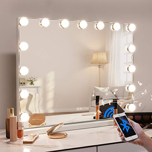 FENCHILIN Large Bluetooth Vanity Mirror with Lights, Hollywood Lights Mirror for Makeup with 10X Magnifying, 15 LED Bulbs Dimmable Smart Mirror, Table Stand/Wall-Mount & USB & Touch Screen & Speaker
