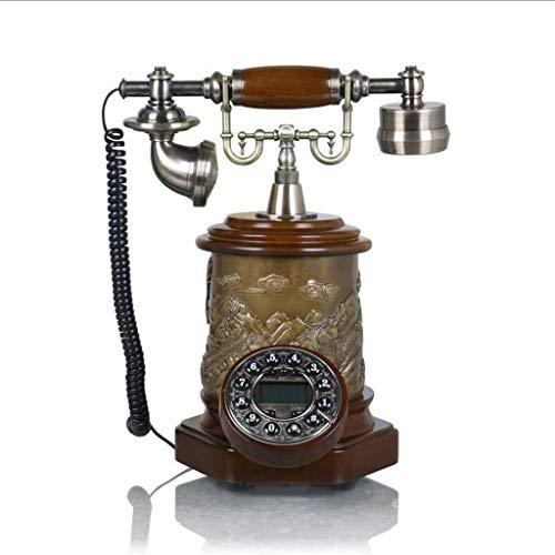 Ideas de Moda Simples Imitación de Resina Cobre Vintage Estilo Rotativo Retro Antiguo Dial Giratorio Teléfono para el Hogar Y la Oficina, gyp