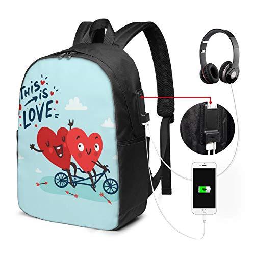JOJOshop Twee Gelukkig Harten In Liefde Fietsen 17 Inch Rugzak Met USB Opladen Poort & Hoofdtelefoon Interface Voor College Student