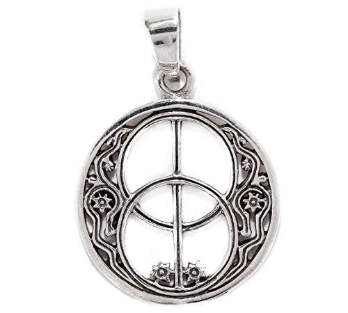 Windalf Britischer Schmuck-Anhänger Avalon Ø 2.2 cm Glücks & Wunsch Amulett Chalice Wells 925 Sterlingsilber
