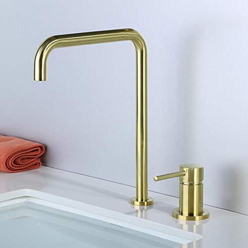 Grifo de Lavabo 2 Orificios Latón Caliente y Frío Rotación de 360° Grifo Baño Lavabo-Cepillado Oro