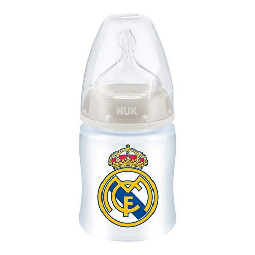 NUK First Choice + Biberón del Real Madrid de Silicona, Anticólicos, Color Blanco, 0-6 meses, 150 ml
