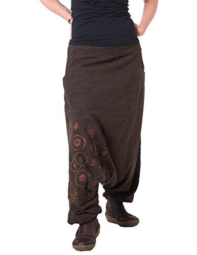 Vishes - Alternative Bekleidung - warme Thermo Haremshose aus Fleece - Bestickt braun 34 bis 38