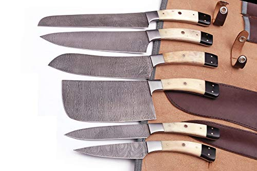 G28B- Professional Kitchen Knives Custom Made Damascus Steel 6 pcs of Professional Utility Chef Kitchen Knife Set with Chopper / Cleaver Black Horn (at end) GladiatorsGuild G28B (White Bone)
