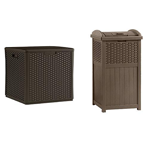 Suncast 60 Gal. Outdoor Storage Deck Box & Trash Hideaway 33 Gal. Capacity