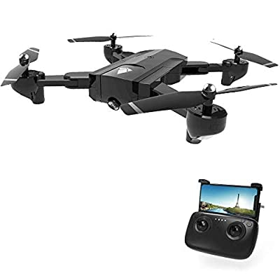 Rabing SG900 Optical Flowing Foldable FPV WiFi RC Quadcopter with Double Hd 720P Camera 4CH 6-Axis Gyro Image Allow Gesture Photo/Video Selfie Drone, Black
