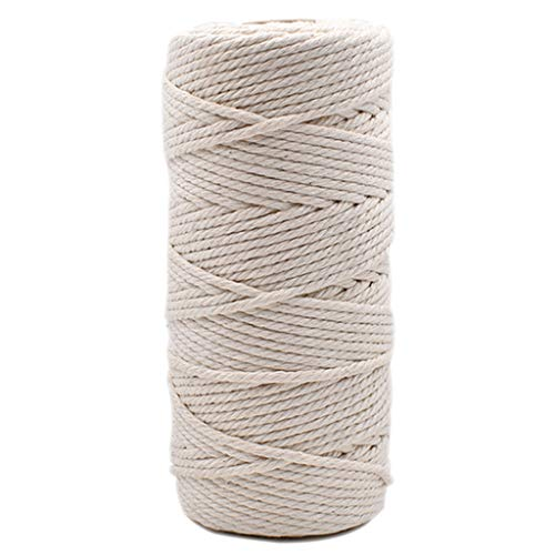 buycheapDG(JP)綿ロープ 綿糸 編み物 手作りコットン 紐 マクラメ 綿 ロープ 綿紐 DIY ボヘミア風 鉢植え装飾 インテリア 手織り クラフト用品 アクセサリーパーツ ハンドメイド キット (3mm x 100m)