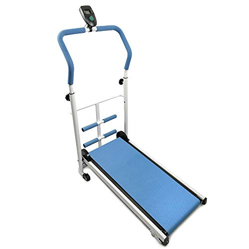 Flyelf Mini Manuale Tapis Roulant, con Display a LED Running, Sit-Up Fitness Famiglia 110 * 88 * 43,5 cm (Blu)