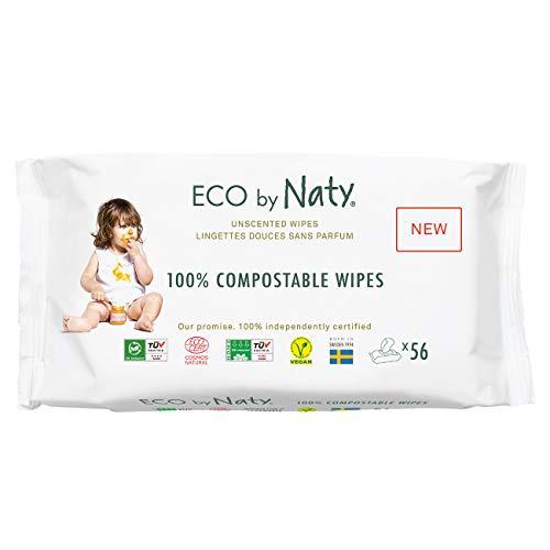 Eco by Naty Toallitas sin Fragancia para bebé, 672 unidades (12 paquetes de 56), Toallitas húmedas compostables hechas a base de fibras vegetales. 0{17d83acdfa60b5d3c46e1ace154221507f6a7a28f4e65a3a08a62b30090cb493} plástico. Sin sustancias nocivas.