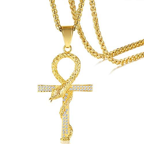 YGPNECK Collar Cruz Acero Inoxidable,Acero Titanio Rhinestone Sencilla joyería Colgantepara Religioso Serpiente Joyería Collar,para el día de San valentín de cumpleaños Unisex Regalo