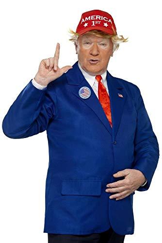 shoperama Donald Trump Herren-Kostüm + Gratis Maske Jackett Krawatte Kappe Anstecker Politiker, Größe:M