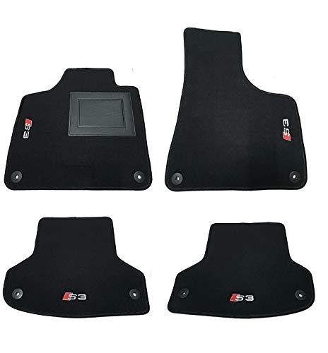 Tappetini auto su misura in moquette con 4 loghi e 8 bottoni per A3 Sportback S3 2004>2012