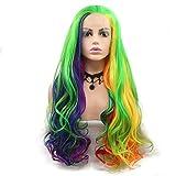 Peluca colorida con encaje frontal sintético rojo, naranja, amarillo, verde, azul, morado, para mujer, mezcla de arcoíris, peluca de reina para cosplay de fiesta