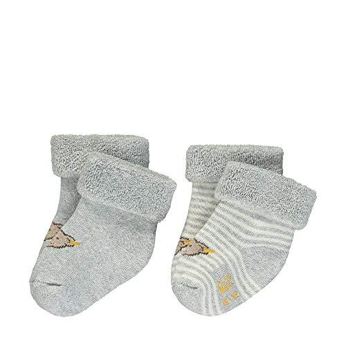 Steiff Baby-Unisex mit Streifen und Teddybärmotiv Socken, Grau (Quarry 9007), 14 (Herstellergröße: 014)