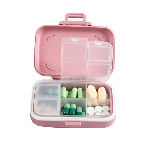 Ah-ike Rijst Fiber Tarwe Pill Box Draagbare Mini Opbergdoos Pink Queen