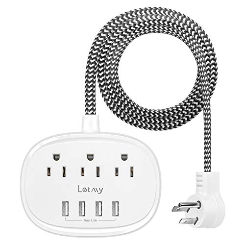 Power Strip with 3 Outlets 4 USB Ports, LETMY USB Power Strip, Flat Plug 5ft Long Braided Extension Cord, Desktop Charging Station for Smartphone Tablet Home Cruise Ship Travel,1875W/15A