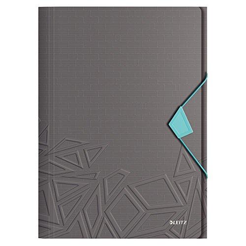 Leitz, Eckspannermappe, Für bis zu 150 Blatt A4, Gummibandverschluss, PP-Material, Dunkelgrau, Urban Chic, 46490089