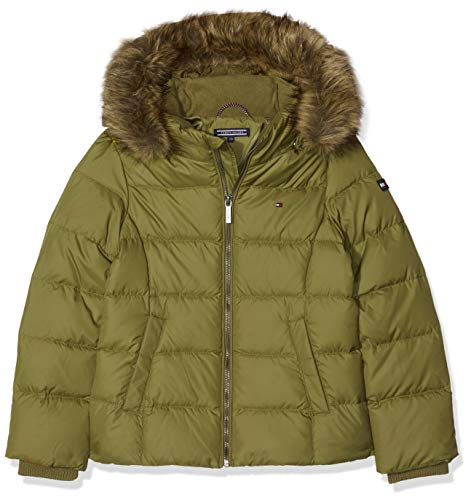 Tommy Hilfiger Mädchen Essential Basic DOWN Jacket Jacke, Grün (Military Olive 393), 140 (Herstellergröße: 10)