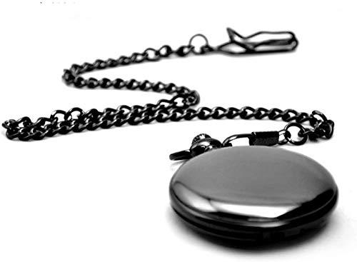 ZHTY Acero de tungsteno Pulido Negro Hueco Clamshell Retro Reloj de Bolsillo Hombres y Mujeres Regalo Collar Estudiante Reloj Decorar