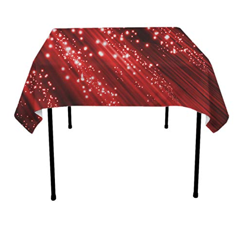 Premium Table Cloths for Holiday Dinner, Catering Events, BBQ - Red Light Beam Dust-Proof Stain Resistant Table Toppers Polyester Dinning Tabletop Decoration