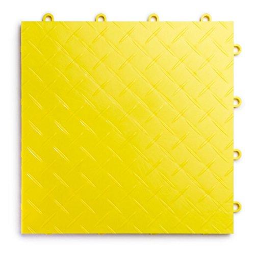 racedeck Diamant Teller Design, strapazierfähiges Interlocking Modular Garage Bodenbelag Fliesen (Single Tile), weiß 24 Pack gelb