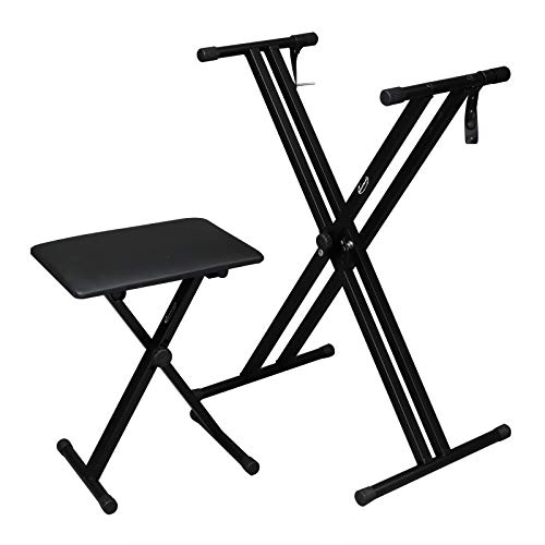 ShowMaven Heavy Duty Keyboard Stand and Bench, Double-X Style Adjustable Height and Portable