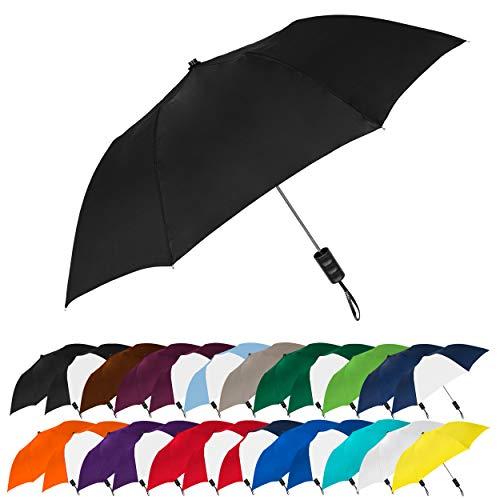 STROMBERGBRAND UMBRELLAS Spectrum Popular Style 15' Automatic Open Umbrella Light Weight Travel Folding Umbrella for Men and Women, (Black)
